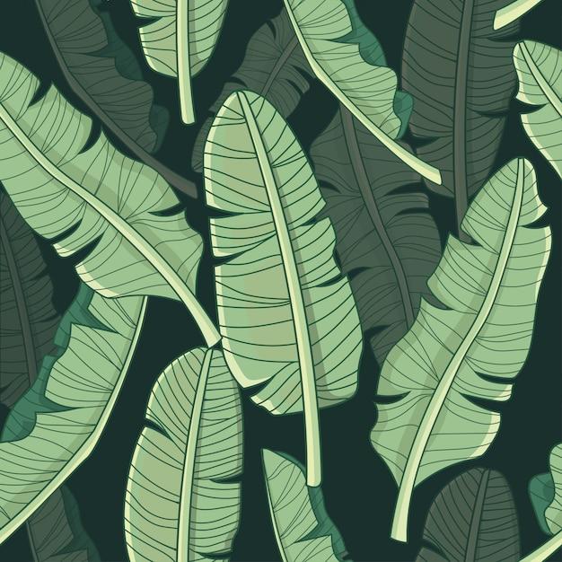 Bananenblad tropisch patroon Premium Vector