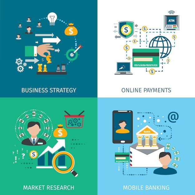 Bancaire marketing pictogrammen instellen Premium Vector
