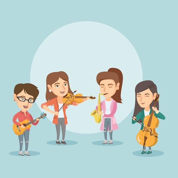 Band van muzikanten spelen op muziekinstrumenten. Premium Vector