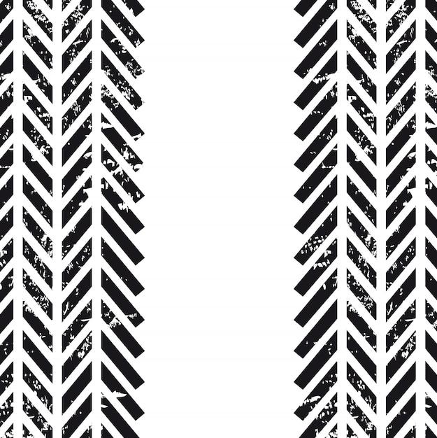 Bandensporen over witte vectorillustratie als achtergrond Premium Vector