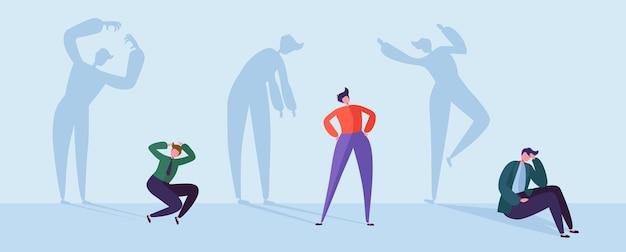 Bang zakenmensen met gestresste schaduwen. mannelijke personages met silhouetten van stressvolle man. depressie, stress, frustratie concept. Premium Vector
