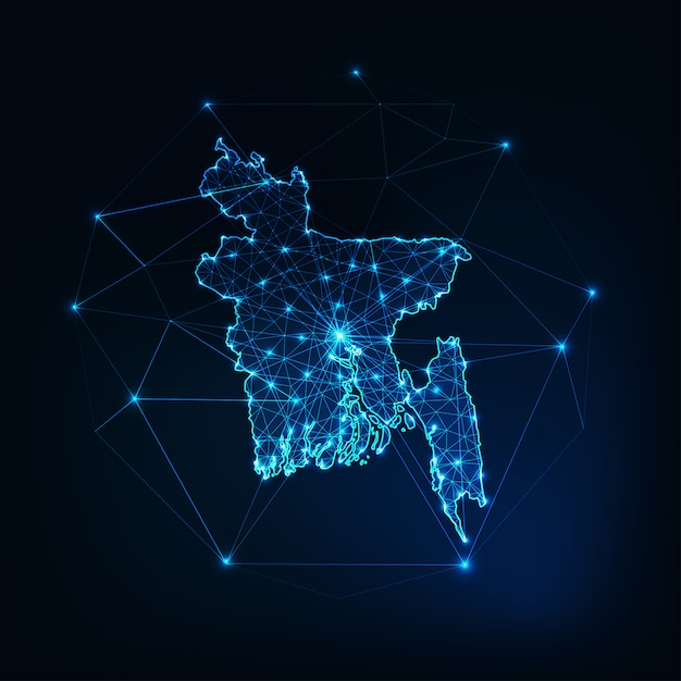 Bangladesh kaart gloeiende silhouet overzicht gemaakt van sterren lijnen stippen driehoeken, lage veelhoekige vormen. Premium Vector