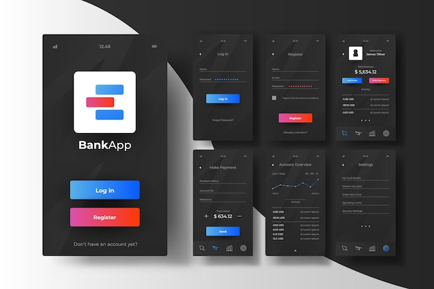 Bank app-interface concept Gratis Vector