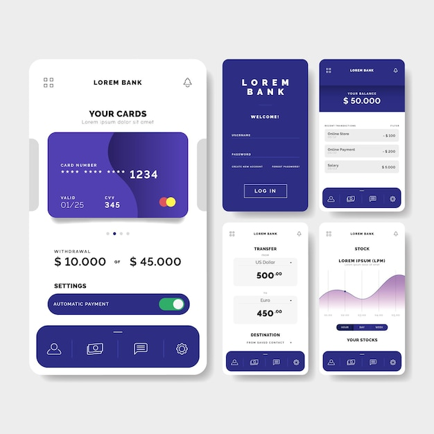 Bank app-interface concept Gratis Vector