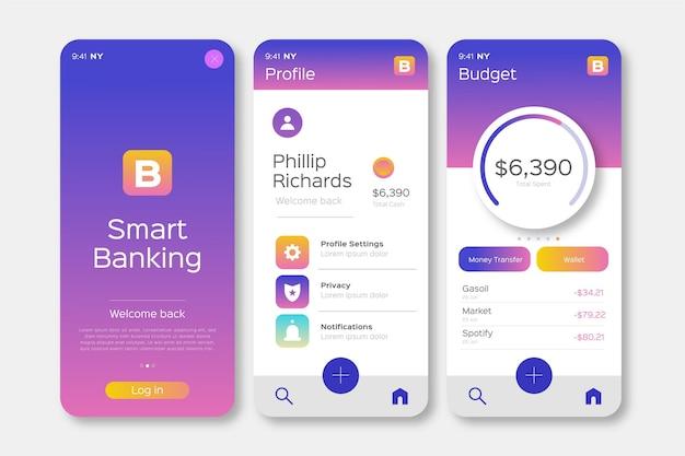 Bank app-interface ontwerp Gratis Vector