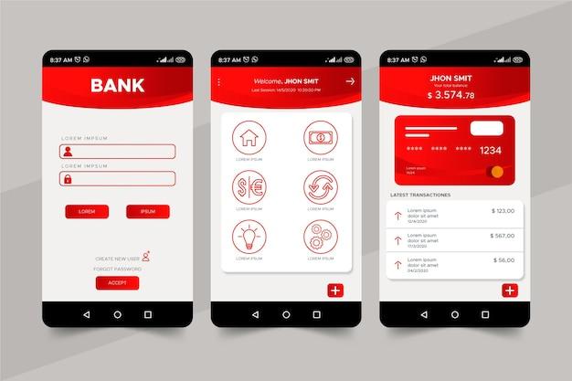 Bank app-interface sjabloon Gratis Vector