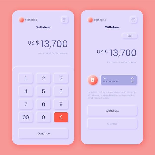 Bank app-interface thema Gratis Vector