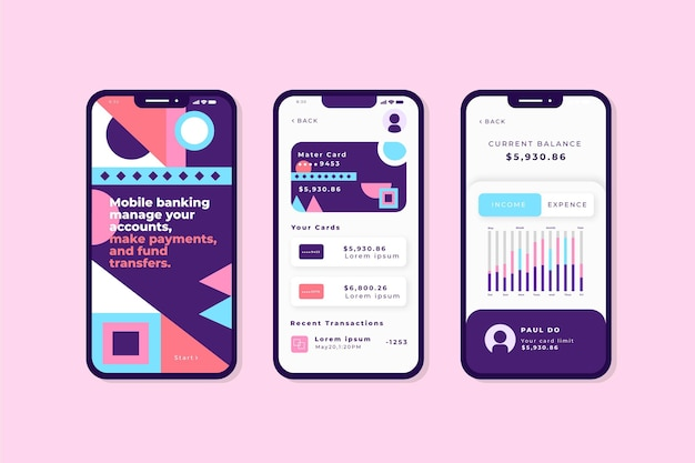 Bank app-interface Premium Vector