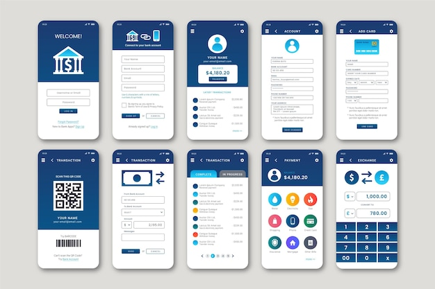 Bank app-interface Gratis Vector