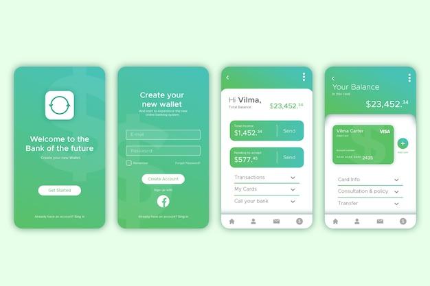 Bank app-interface Gratis Vector