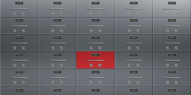 Bank deposit kluis dozen muur realistische vector Gratis Vector