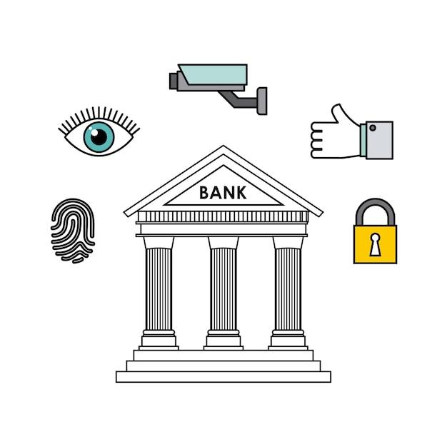 Bank- en beveiligingsontwerp Premium Vector