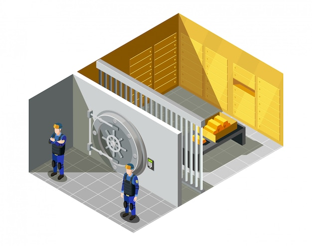 Bank gold vault isometrische samenstelling Gratis Vector