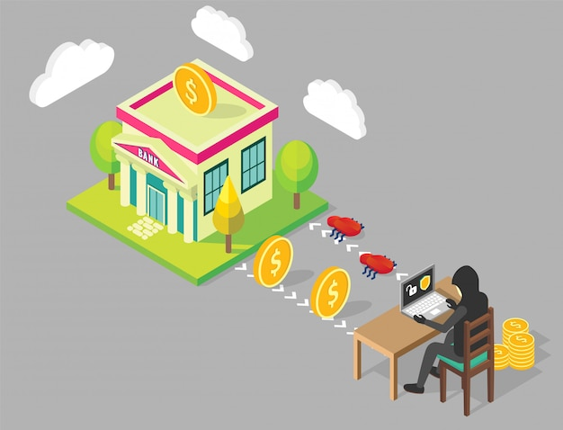 Bank hacken concept illustratie Premium Vector