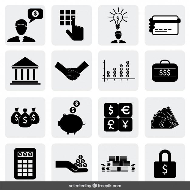 Bank iconen collectie Gratis Vector