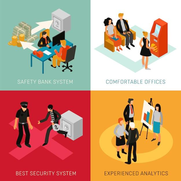 Bank mensen isometrisch concept Gratis Vector