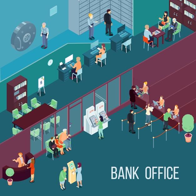 Bank office isometrische illustratie Gratis Vector