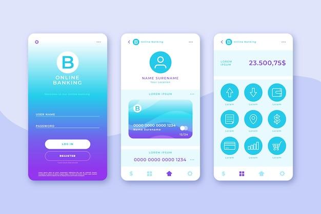 Bankapp-interfacepakket Premium Vector