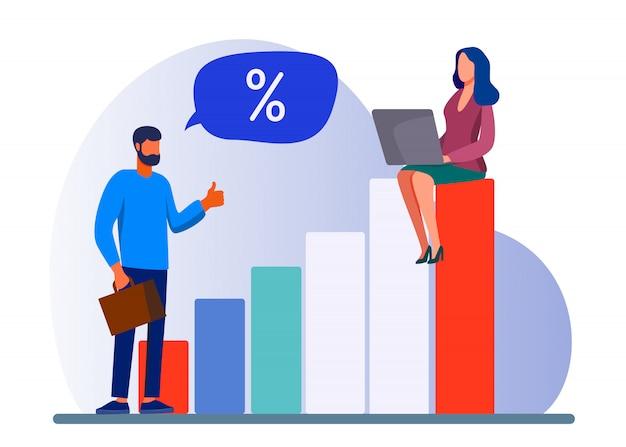 Bankcliënt en manager bespreken rentetarief Gratis Vector