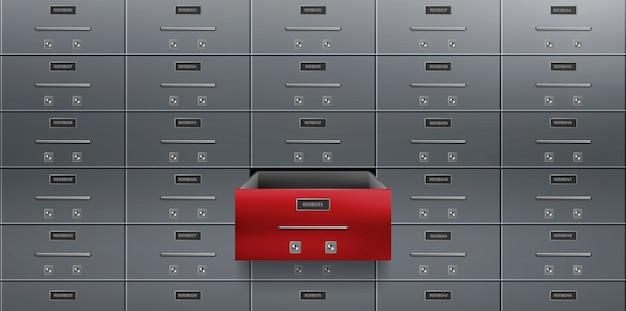 Bankdepositiekluizen muur één rood geopend kastje Gratis Vector