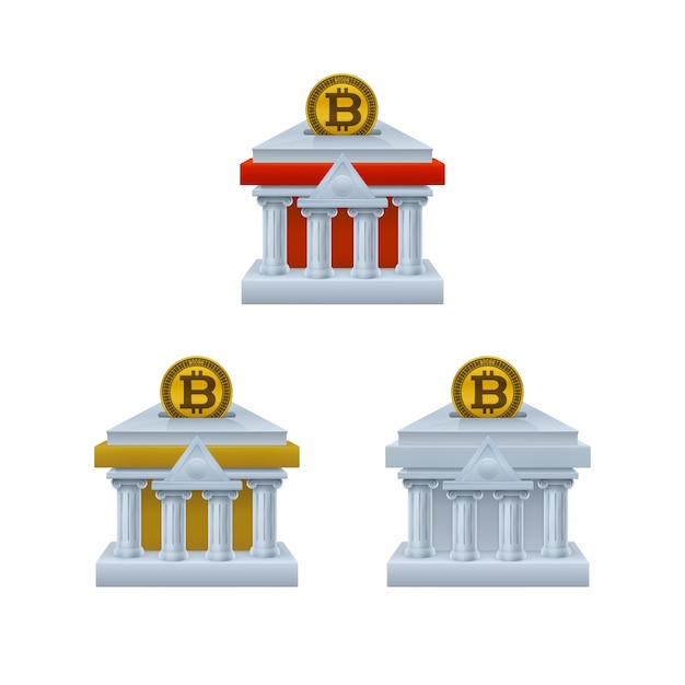 Bankgebouw gevormde spaarvarkenpictogrammen met bitcoin Premium Vector