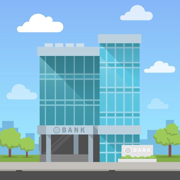Bankgebouw Premium Vector
