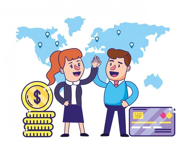 Banking teamwork financiële planning Premium Vector