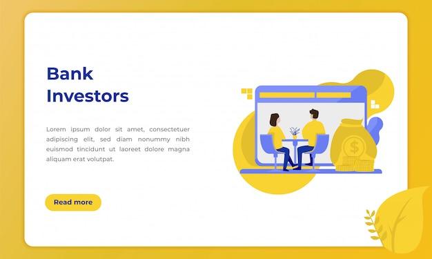 Bankinvesteerders, illustratie met het thema van de banksector voor bestemmingspagina Premium Vector