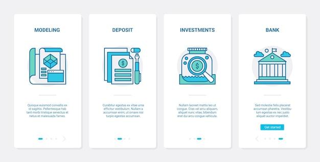 Bankinvesteringen en financiële deposito's Premium Vector