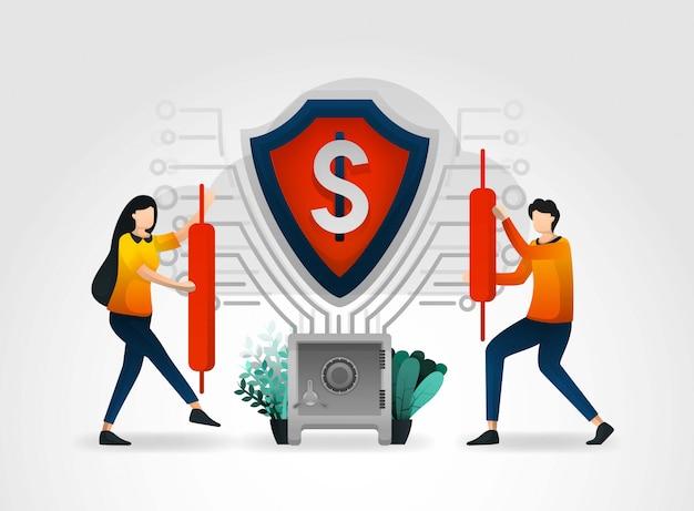 Banknetwerk dat beveiligd is met schilden Premium Vector