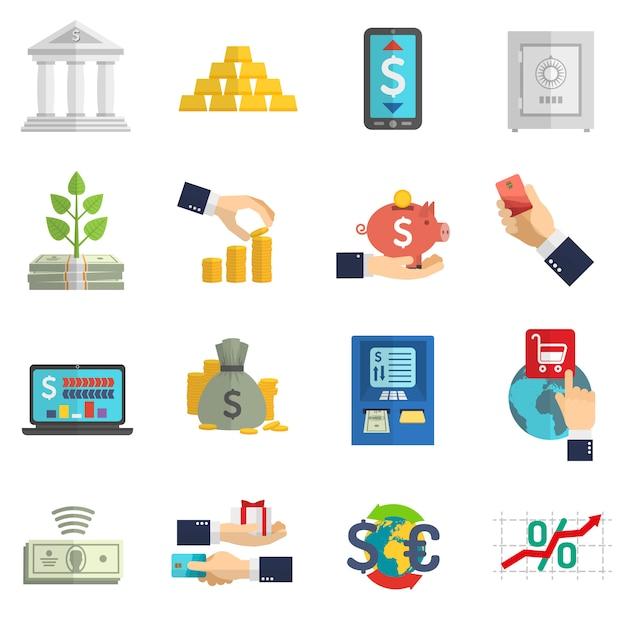 Banksysteem pictogrammen instellen Gratis Vector