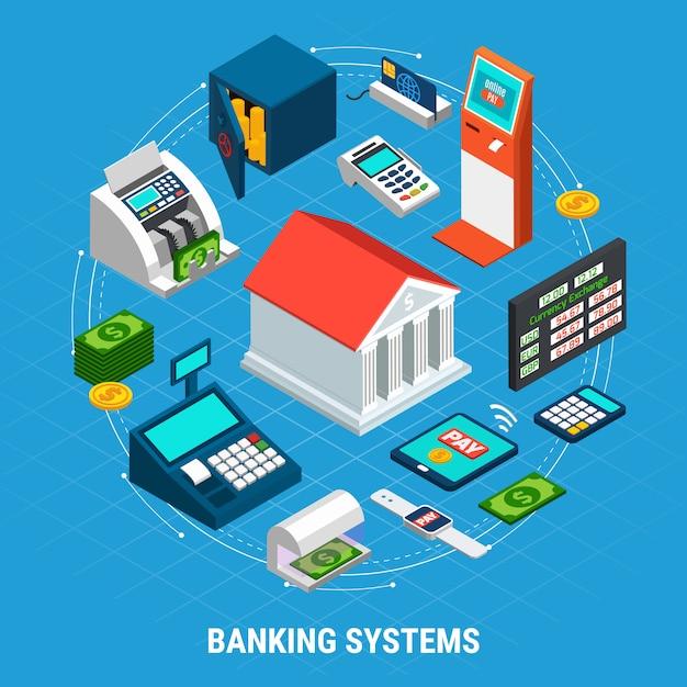 Banksystemen ronde samenstelling Gratis Vector