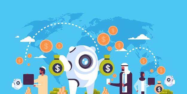 Bankwezen bot illustratie met arabische mensen Premium Vector