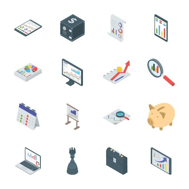 Bankwezen en financiën isometrische pictogrammen Premium Vector