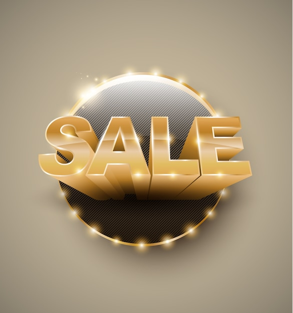 Banner cirkel retro gloeilamp gouden tekst verkoop 3d-stijl Premium Vector