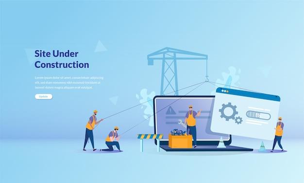 Banner concept over site in aanbouw Premium Vector