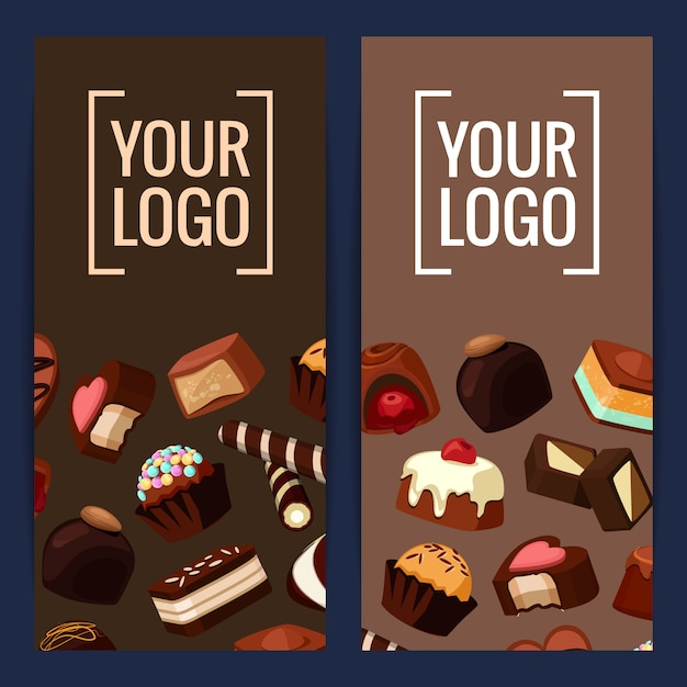 Banner en poster verticale kaart flyer met cartoon chocoladesuikergoed Premium Vector