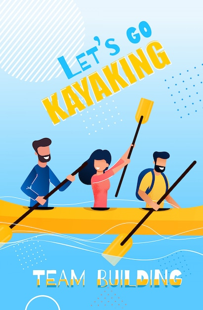 Banner flat lets go kayaking team building cartoon Premium Vector