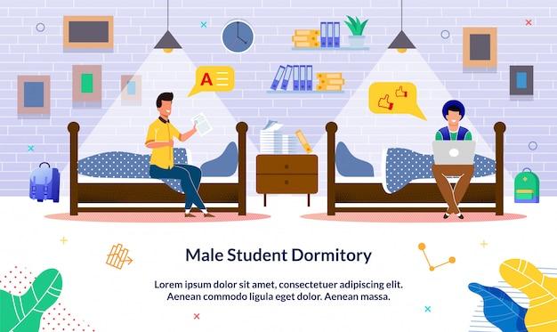 Banner geschreven mannelijke studentenflat, cartoon. Premium Vector
