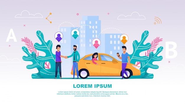 Banner illustratie groepsmensen reisgenoot Premium Vector