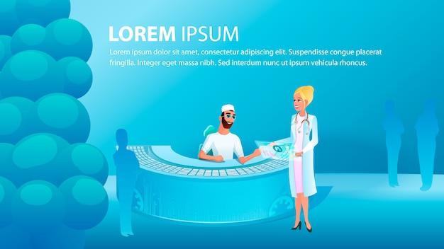 Banner illustratie medisch consult arts Premium Vector