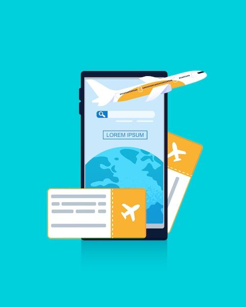 Banner illustratie mobiele telefoon blauwe achtergrond Premium Vector