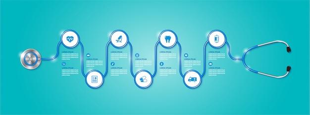 Banner infographic gezondheidszorg en medische stethoscoop en vlakke pictogrammen Premium Vector