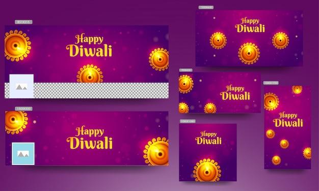 Banner instellen met bovenaanzicht van verlichte olielamp (diya) ingericht op paarse bokeh achtergrond voor happy diwali. Premium Vector
