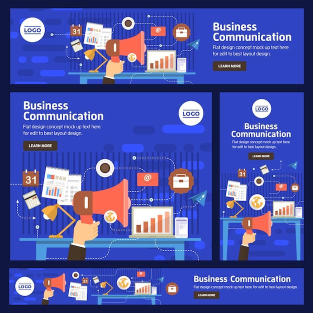 Banner instellen vector digitale zaken Premium Vector