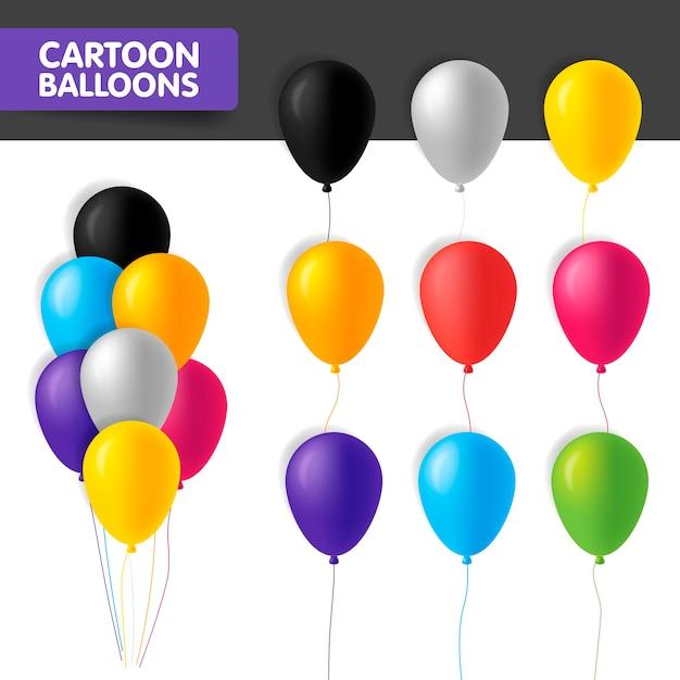 Banner kleurrijke cartoon ballonnen geïsoleerd op een witte achtergrond. illustratie. glanzende ballonnen verschillende kleuren in bos en in een rij met koord. opblaasbare ballonnen. Premium Vector