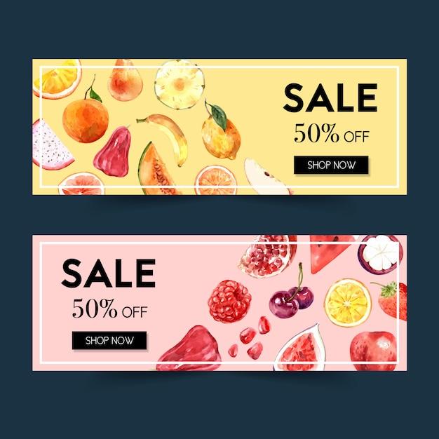 Banner met fruit thema, aquarel element illustratie sjabloon. Gratis Vector