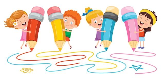 Banner met gelukkige kinderen Premium Vector
