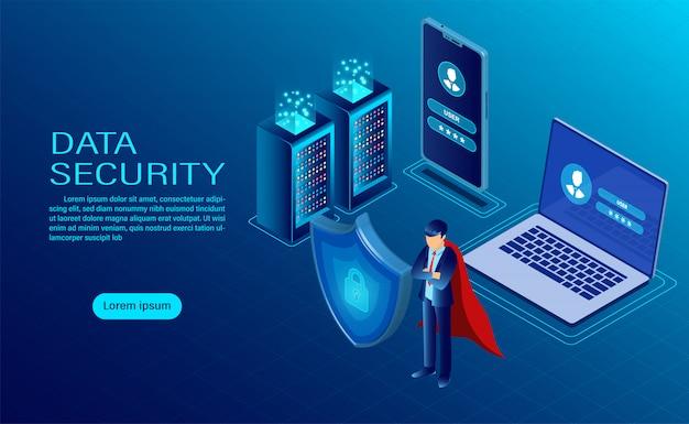 Banner met held beschermt gegevens en vertrouwelijkheid op computer en mobiel Premium Vector