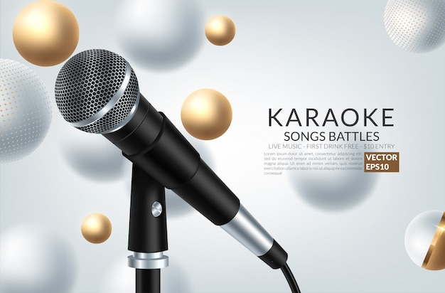 Banner met microfoon en inscriptie karaoke-feest op de kunst achtergrond. Premium Vector